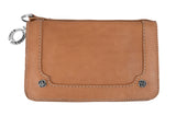 Tan Leather Wallet w/ Silver Roses