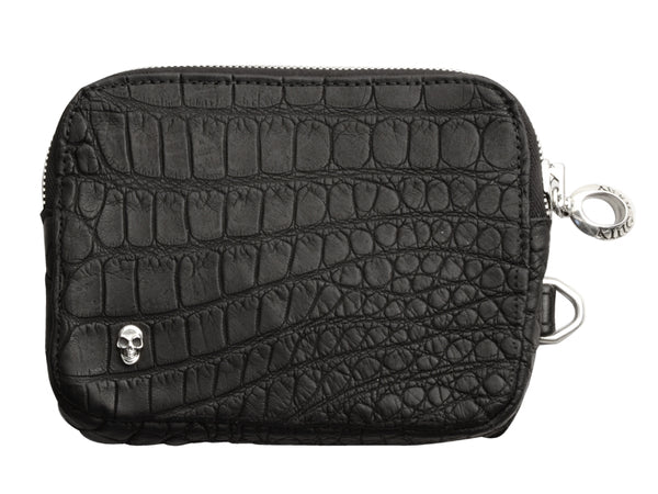 Small Matte Black Alligator Pouch