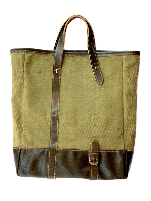 Military Canvas Tote Bag w/ Olive Leather