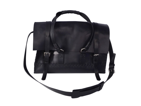 Black Hand-Stitched Large Overhead Bag w/ Silver Hardware