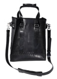 Black Hand-Stitched Large Tote w/ Alloy Hardware