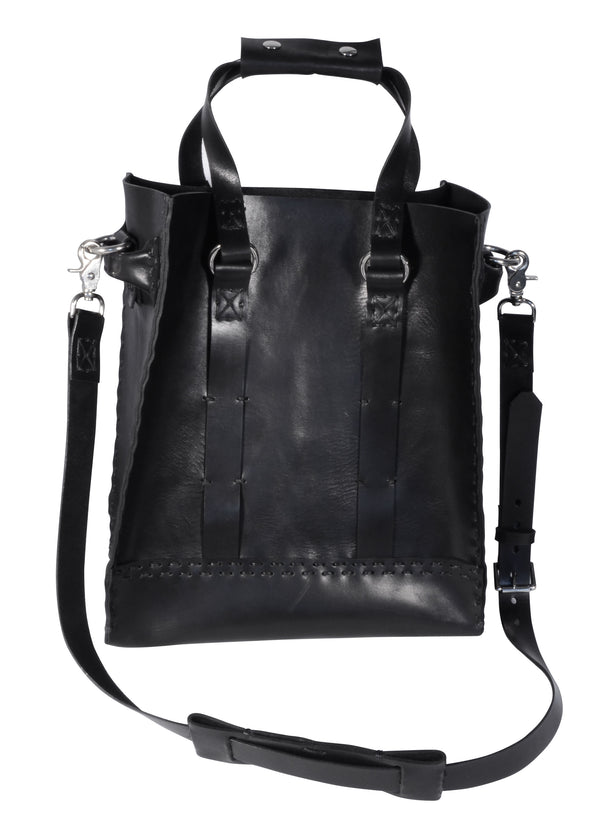 Black Hand-Stitched Large Tote w/ Silver Hardware