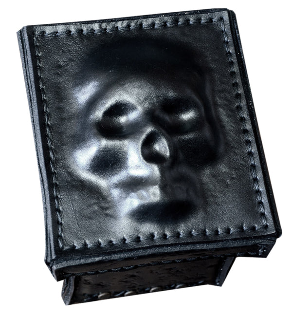 Leather Metal Skull Box w/ 3D Skull Top