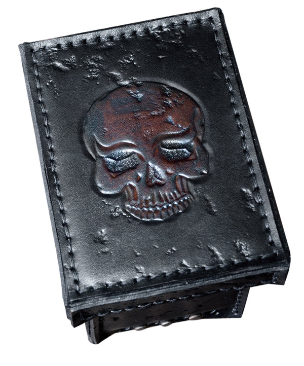 Leather Metal Skull Box w/ Tooled Skull Top