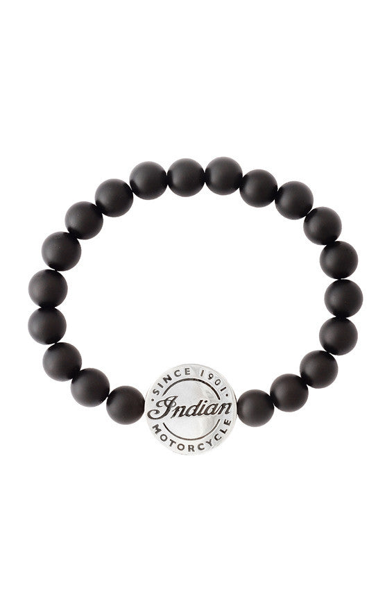 8mm Onyx Bead Bracelet with Alloy Indian Logo Icon
