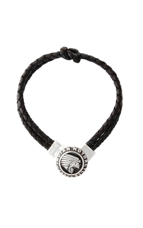 Double Knotted Black Leather Bracelet with Indian Icon Clasp