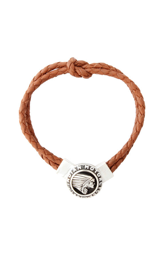Double Knotted Brown Leather Bracelet with Indian Icon Clasp
