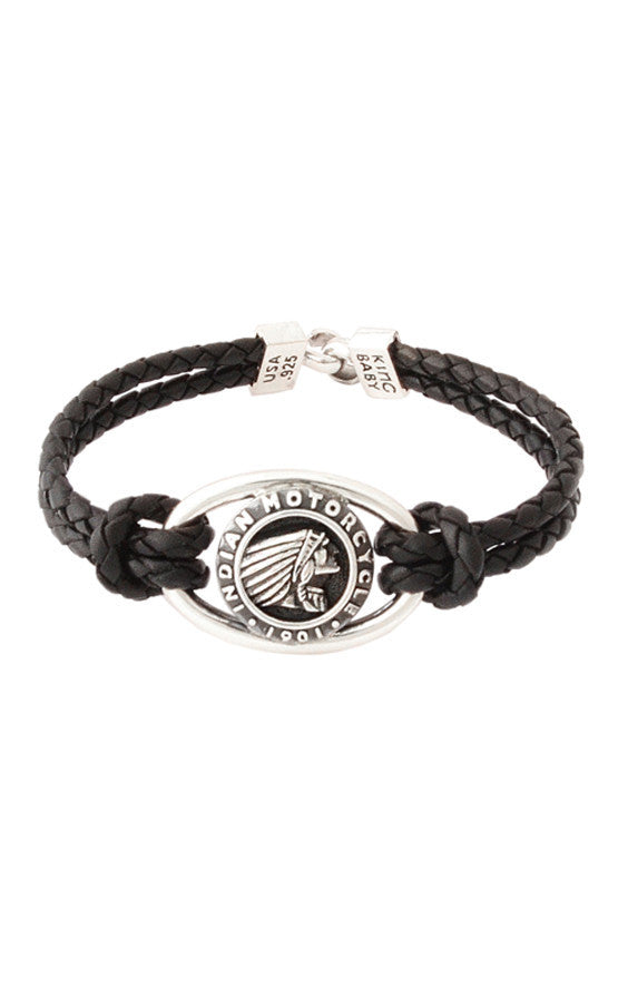 Double Black Leather Braid Bracelet with Indian Icon and Hook Clasp