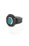 Industrial Texture Ring with Turquoise Cabachon