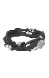 Multi-Wrap Charcoal Silk Bracelet with Silver Alloy Skull Beads