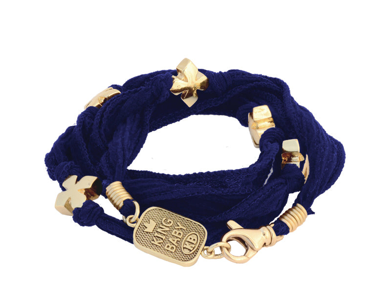 Multi-Wrap Navy Silk Bracelet with MB-Cross Beads