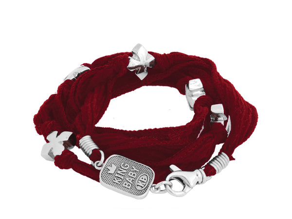 Multi-Wrap Red Silk Bracelet with Silver Alloy MB-Cross Beads