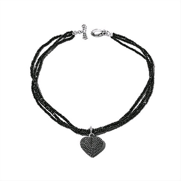 Black Spinel Necklace with Industrial Texture Heart