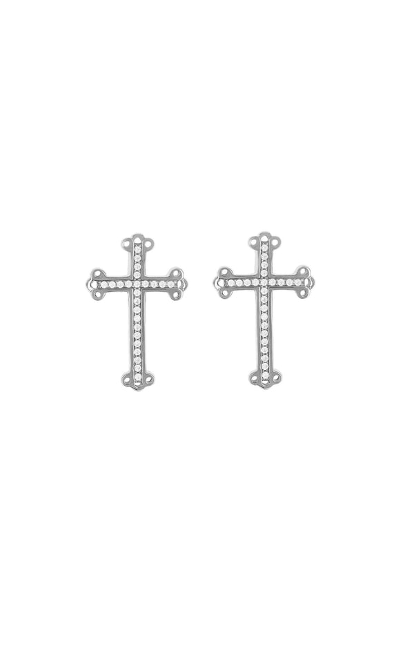 Cross Stud Earrings with Pave CZ