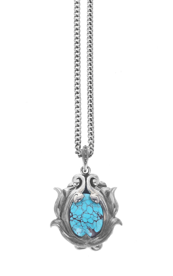Egyptian Turquoise Scrollwork pendant