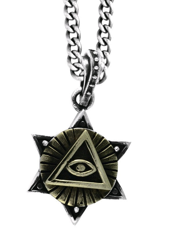 Large Alloy All Seeing Eye in Silver Star of David Pendant