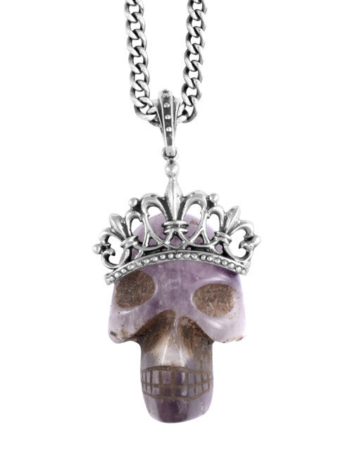 Pendants | Large Quartz Primitive Crowned Skull Pendant on 24 in. Curb link Chain