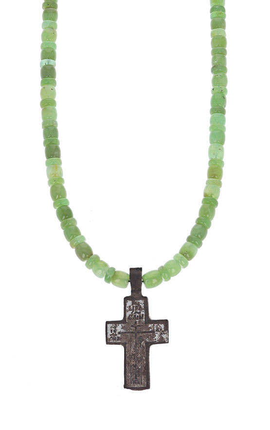 Chrysoprase Necklace with Byzantine Cross Pendant