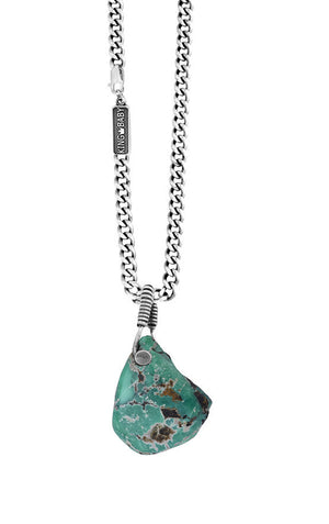 Natural Turquoise Nugget Pendant with Wire Wrap Bail on 24 in. Fine Curb Link Chain
