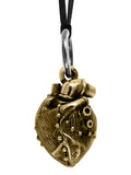 Alloy Rivet Heart Pendant on Leather Cord