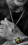 man wearing king baby sterling silver jewelry