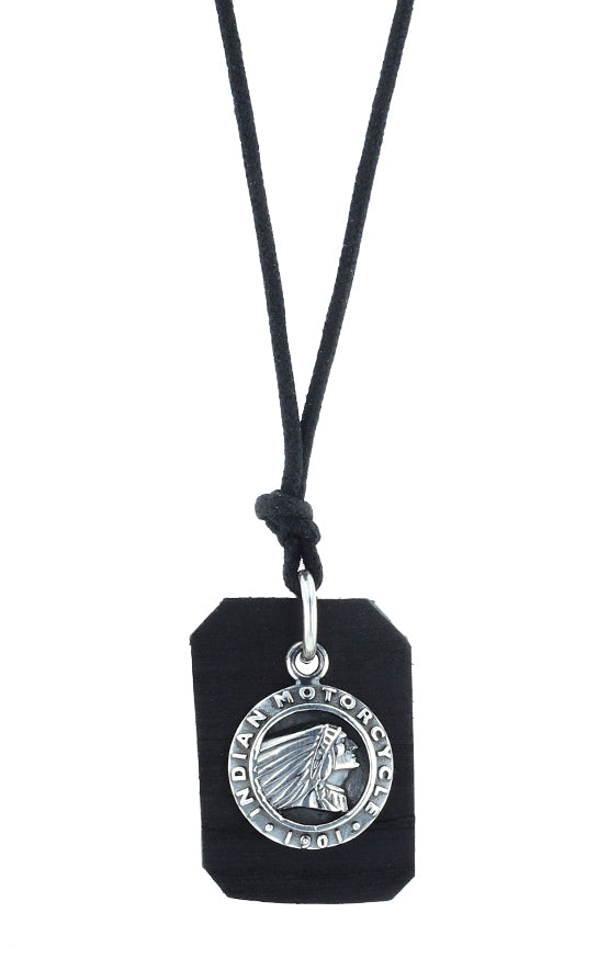 Indian Headdress Coin and Leather Tag Pendant