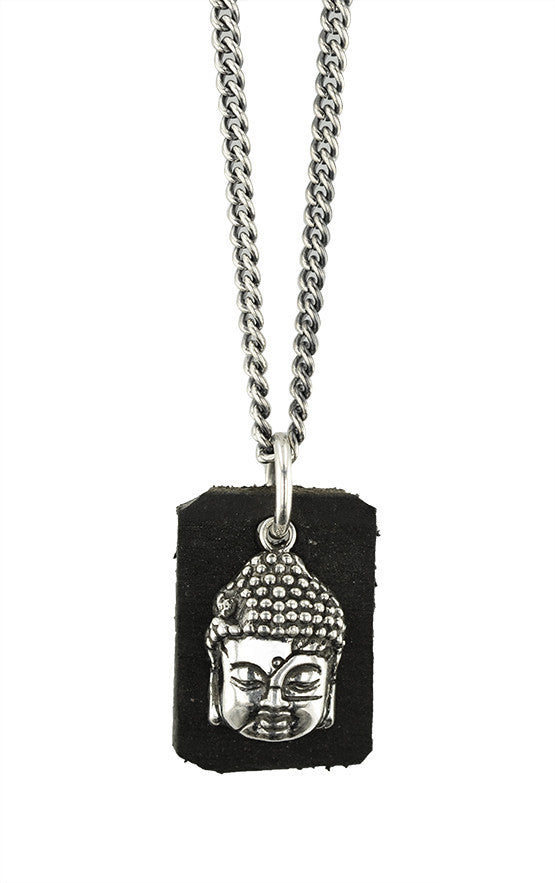 Meditating Buddha Pendant with Leather Tag