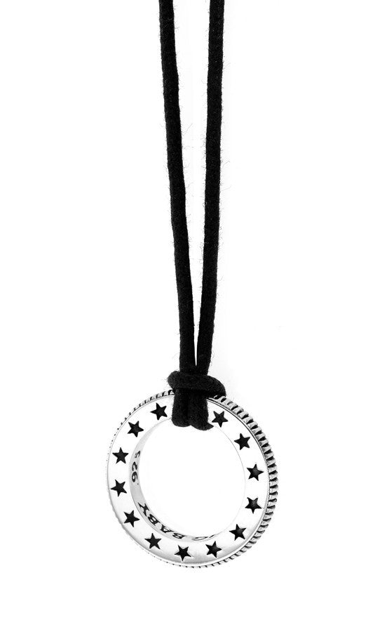 Coin Edge Circular Pendant with Engraved Stars