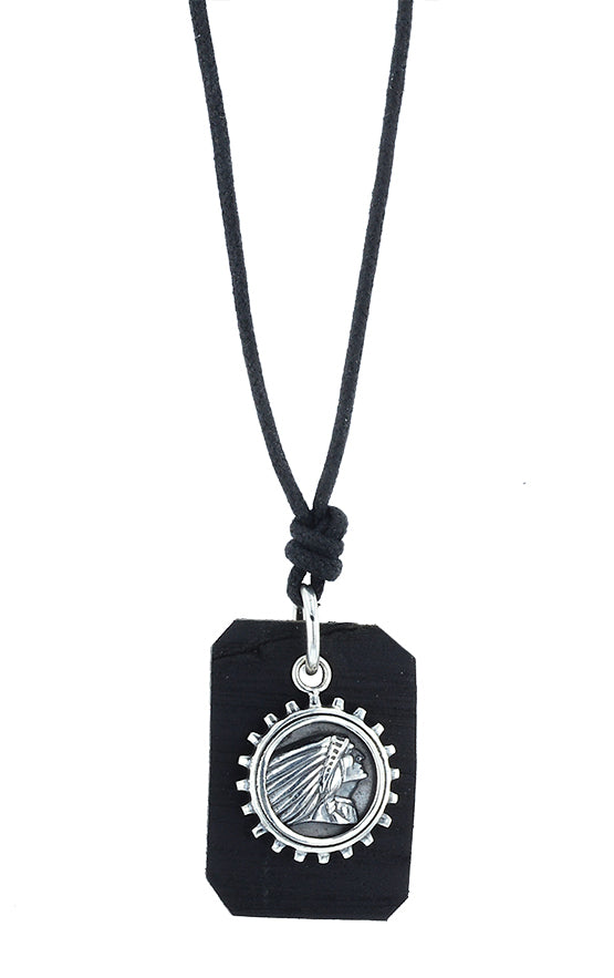 Indian Headdress Gear Coin and Leather Tag Pendant