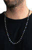 MB Cross and 4mm Onyx Bead Necklace