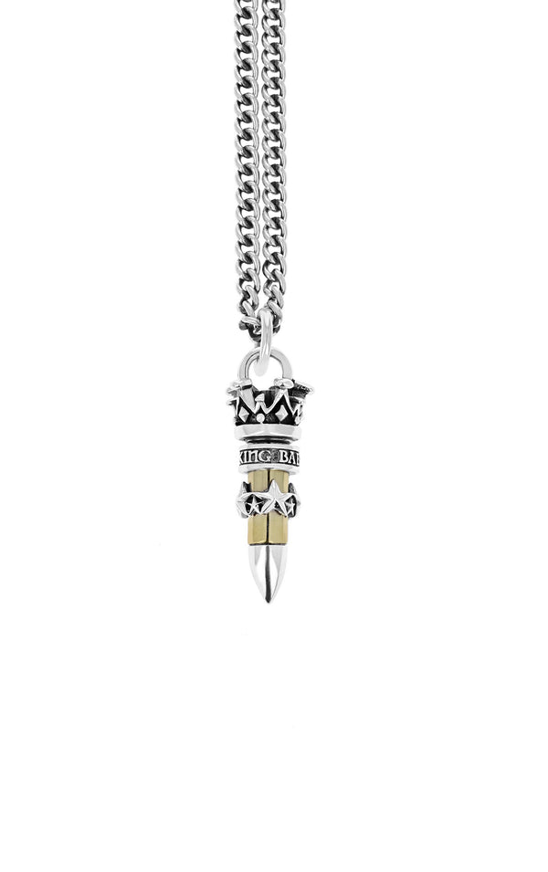 king baby 22 caliber bullet pendant with stars