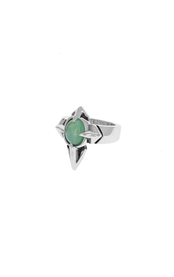 Pointed MB Cross Chrysoprase Ring