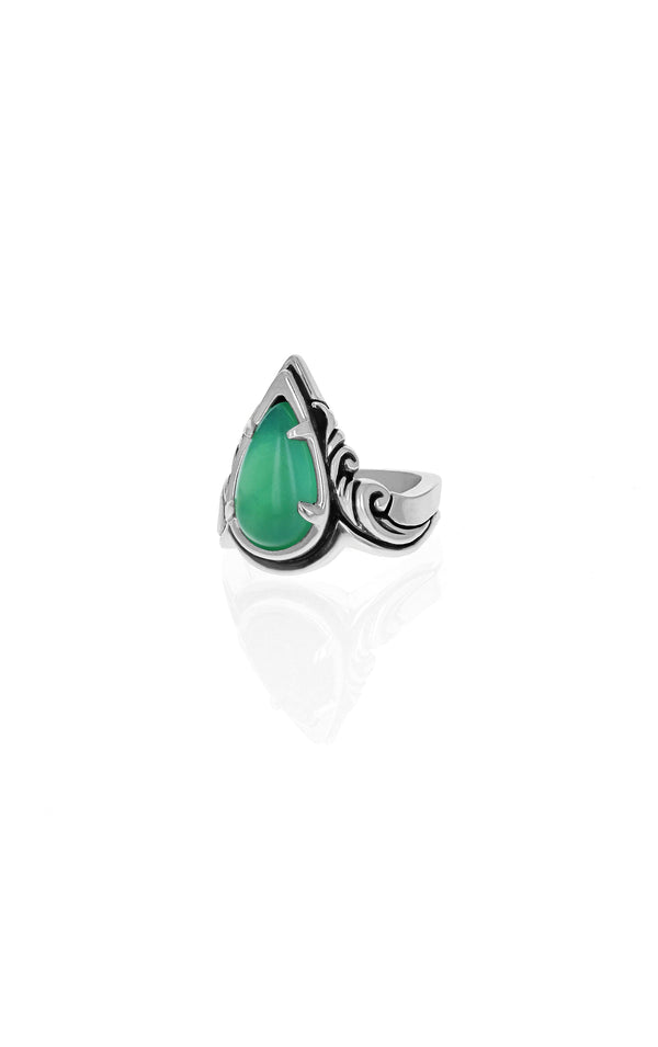 Drop Scroll Chrysoprase Ring