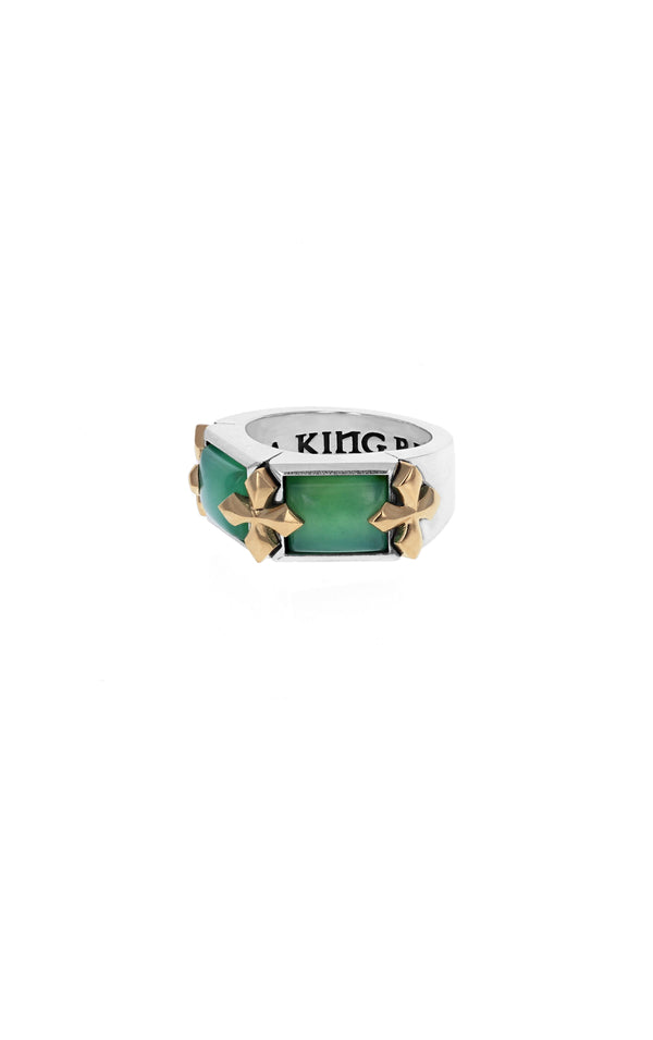 King Baby Chrysoprase Ring with 18k Gold MB Crosses