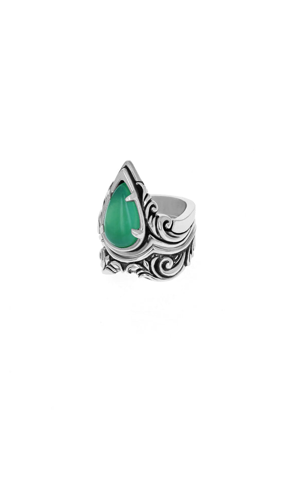 Stackable Drop Scroll Chrysoprase Ring
