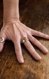 woman wearing sterling silver ring with 18k gold