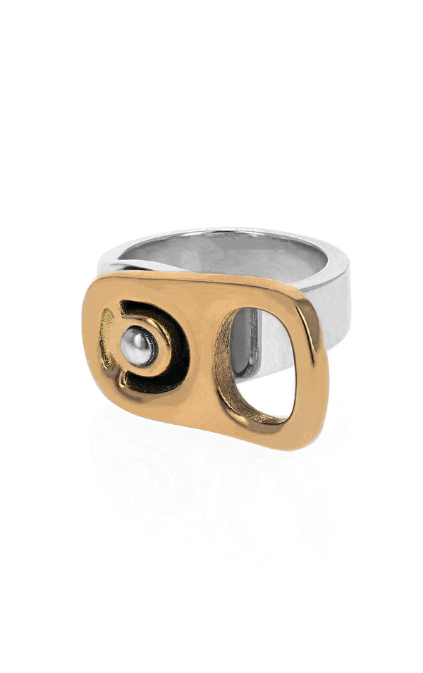 18k Gold Horizontal Pop Top Ring