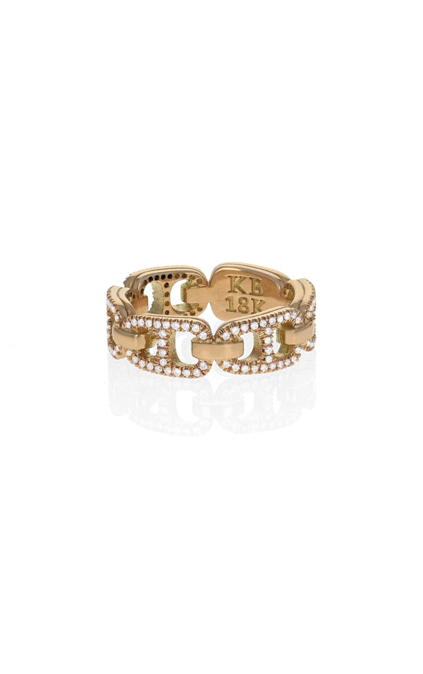 18k Gold Small Pop Top Infinity Band with Pave Diamonds