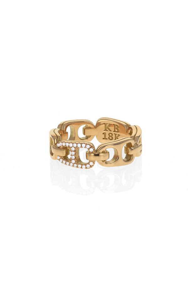 18k Gold Small Pop Top Infinity Band with Pave Diamond Accents