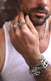 man wearing sterling silver jewelry