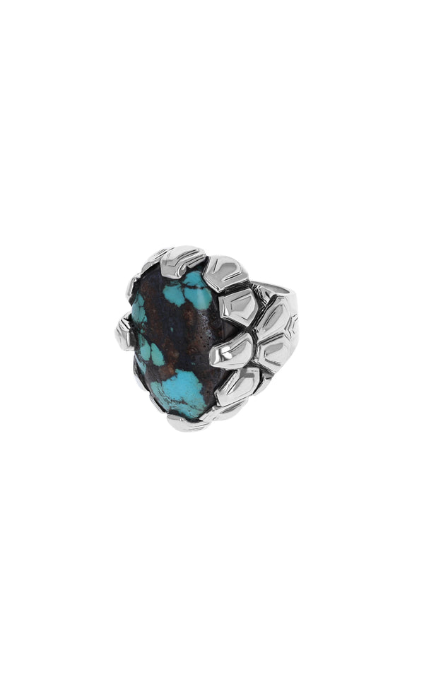 One-of-a-Kind Framed Texture Turquoise Ring