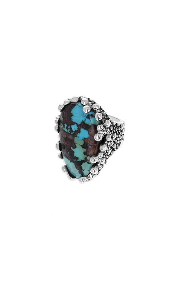 One-of-a-Kind Turquoise Ring with Stingray Texture