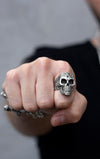 Laughing Skull Ring with Movable Jaw