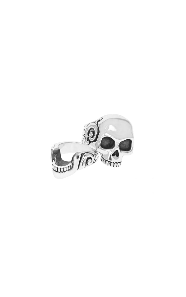 sterling silver stacked skull ring made in the usa