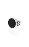 Round Onyx Signet Ring w/ MB Cross Detail