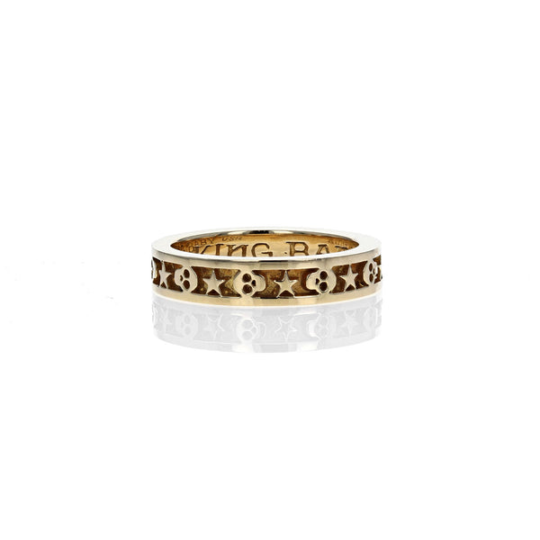 18K GOLD Stackable Skull and Star Ring