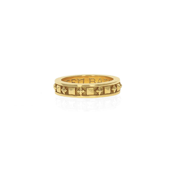18K GOLD Stackable Studded Ring w/ MB Crosses