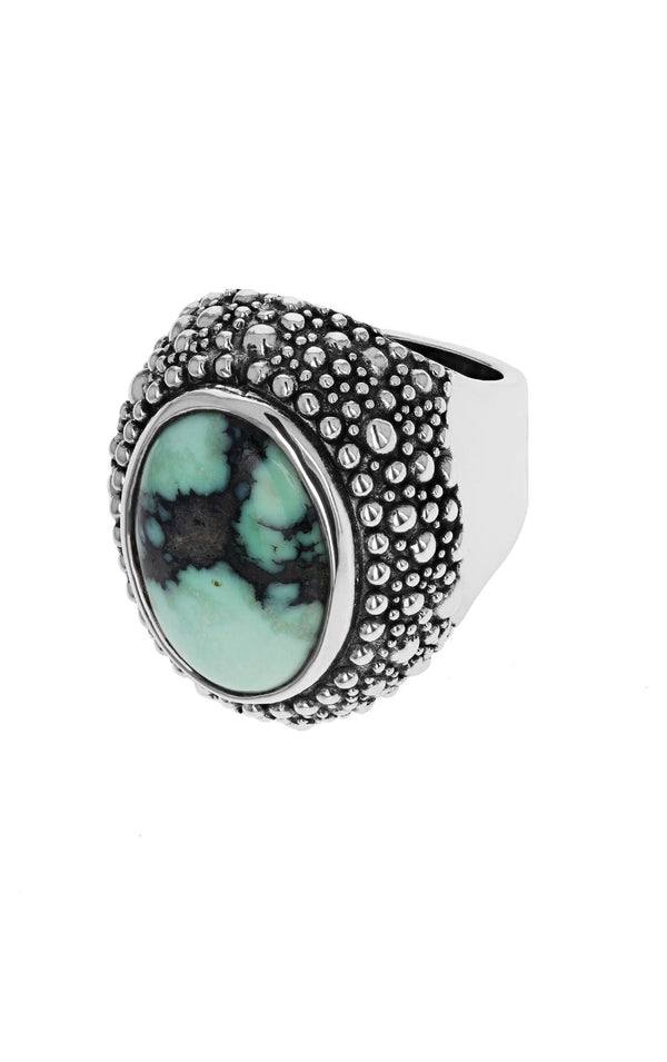 Stingray Texture Cabochon Ring with Top Hat Spotted Turquoise