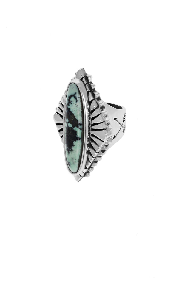 Top Hat Spotted Turquoise Concho Ring