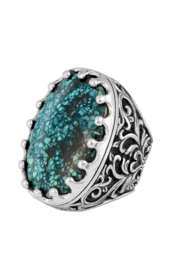 Great Baroque Scroll Ring with Top Hat Spotted Turquoise